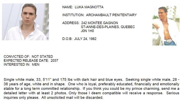 Perfil de Luka Magnotta numa rede social amorosa para presidiários canadenses.