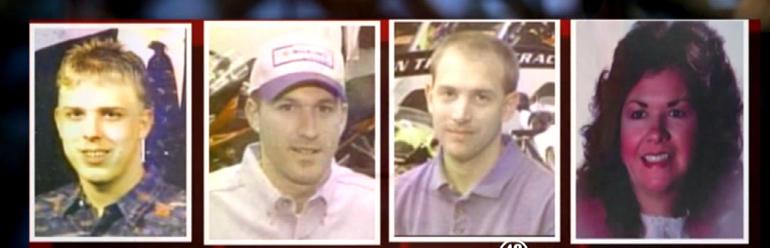 """Vítimas do Massacre """"Superbike"""", ocorrido em 2003 na cidade de Chesnee, Carolina do Sul: Chris Sherbert, Scott Ponder, Brian Lucas, e Beverly Guy. Foto: WSPA."""