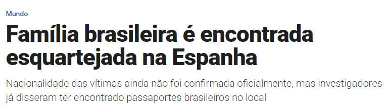 Familia brasileira esquartejada na Espanha