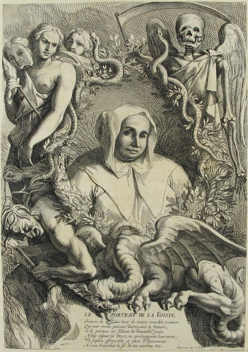 Auto-retrato da bruxa e serial killer La Voisin cercada por figuras demoníacas. Estimativas afirmam que ela matou entre 1.000 e 2.500 pessoas.