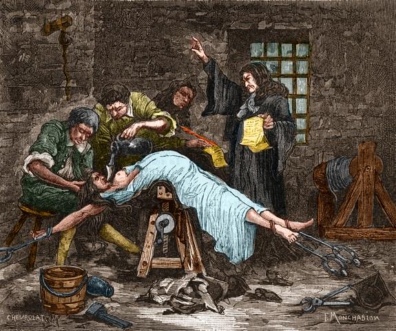Madame de Brinvilliers sendo forçada a ingerir água antes de ser decapitada em 1676. Ela foi condenada por envenenar vários membros de sua família. Foto: Stefano Bianchetti/Corbis.
