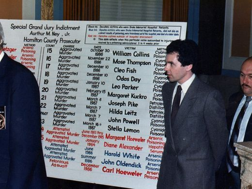 18 de agosto de 1987: o serial killer Donald Harvey durante audiência judicial é fotografado ao lado de um painel com o nome de suas vítimas. Enquirer.