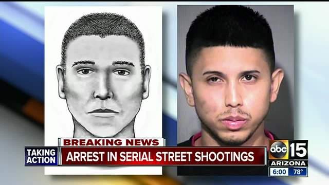 O retrato falado feito pela polícia e o suspeito preso pela polícia, Aaron Saucedo. ABC News.