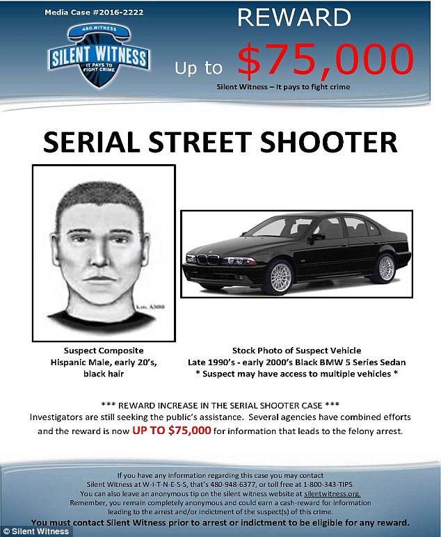 Polícia ofereceu uma recompensa de 75 mil dólares por pistas que levassem à prisão de serial killer. Eles compartilharam um cartaz com seu retrato falado e uma BMW preta, carro que uma testemunha disse ter visto o assassino dirigindo.