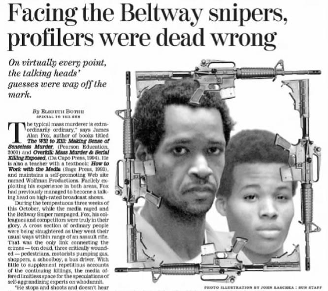 """""""Encarando os Atiradores de Beltway: profilers estavam completamente errados"""", escreveu o Baltimore Sun em 15 de Dezembro de 2002. Foto: Baltimore Sun."""