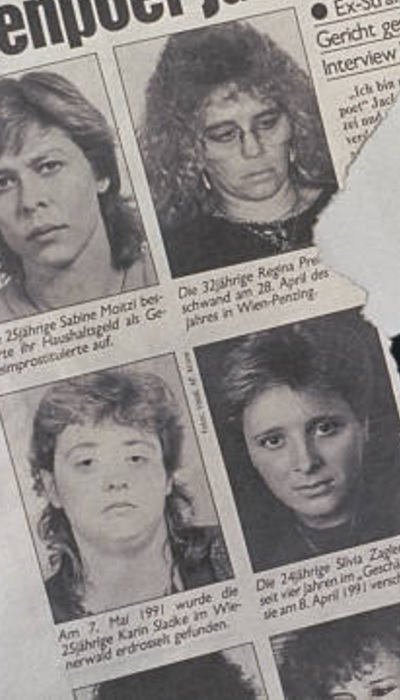 Reportagem de época de revista austríaca mostra vítimas do serial killer.