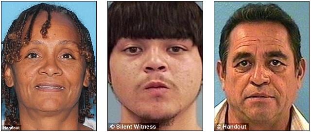 Krystal Annette White, 55, assassinada em 19 de abril; Jesse Olivas, 22, assassinado em janeiro de 2016. Saucedo foi inicialmente preso pelo assassinato de Raul Romero , 61, (à direita), em 2015.