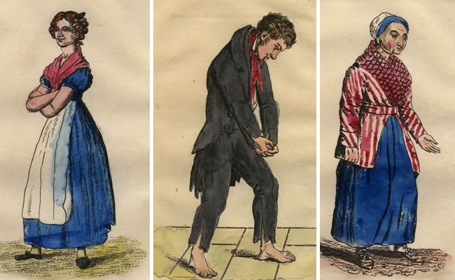 Vítimas de Burke & Hare: Mary Paterson, Daft Jamie e Margaret Docherty. Imagens: Notable British Trials Series, Wm Hodge & Co, 1921.