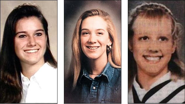 As vítimas do casal de serial killers: Kristen French, Leslie Mahaffy e Tammy Homolka.