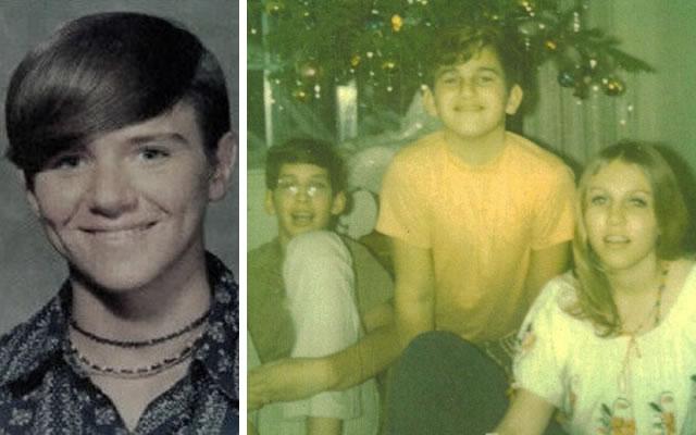 À esquerda Jimmy Glass e à direita (ao meio), com seus irmãos, Danny Yates. Os amigos Glass e Yates desapareceram em dezembro de 1970.