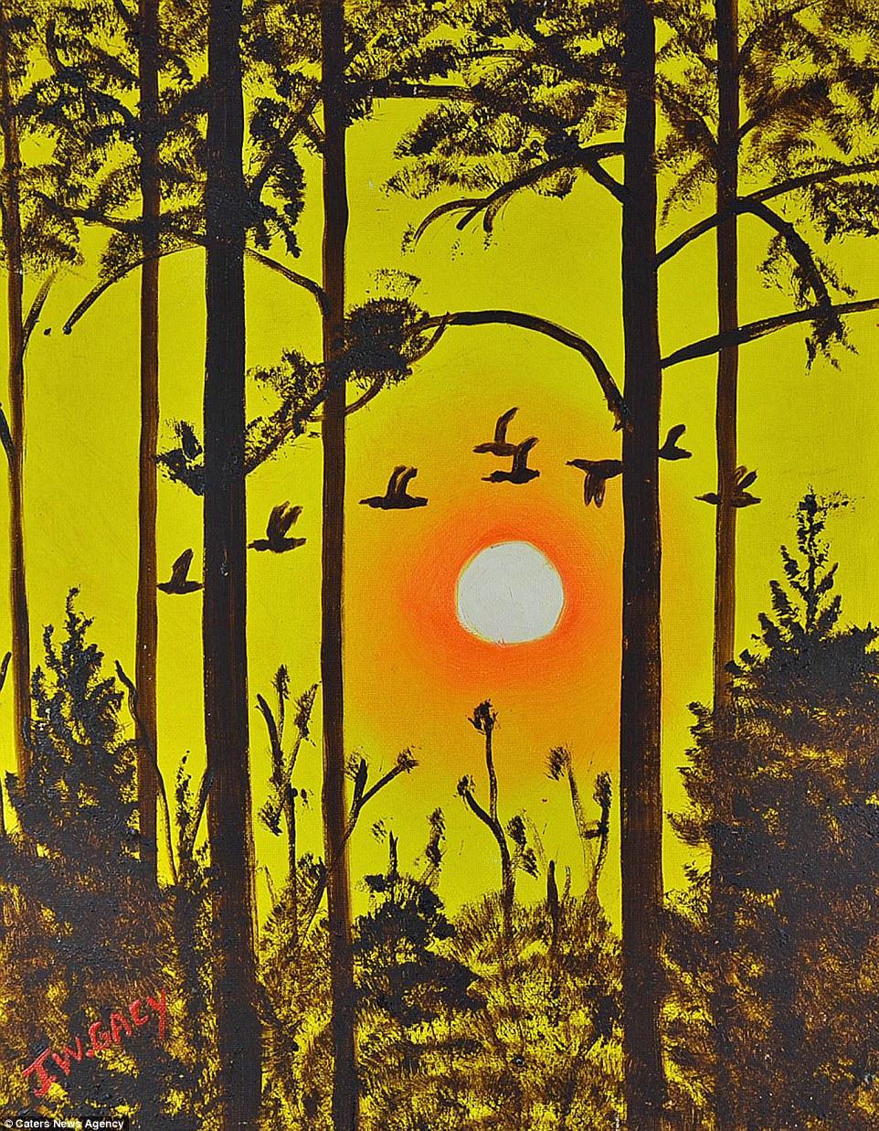 Esta rara pintura do serial killer John Wayne Gacy mostra pássaros voando sob o por-do-sol e é uma das várias pinturas do psicopata que vão a leilão.