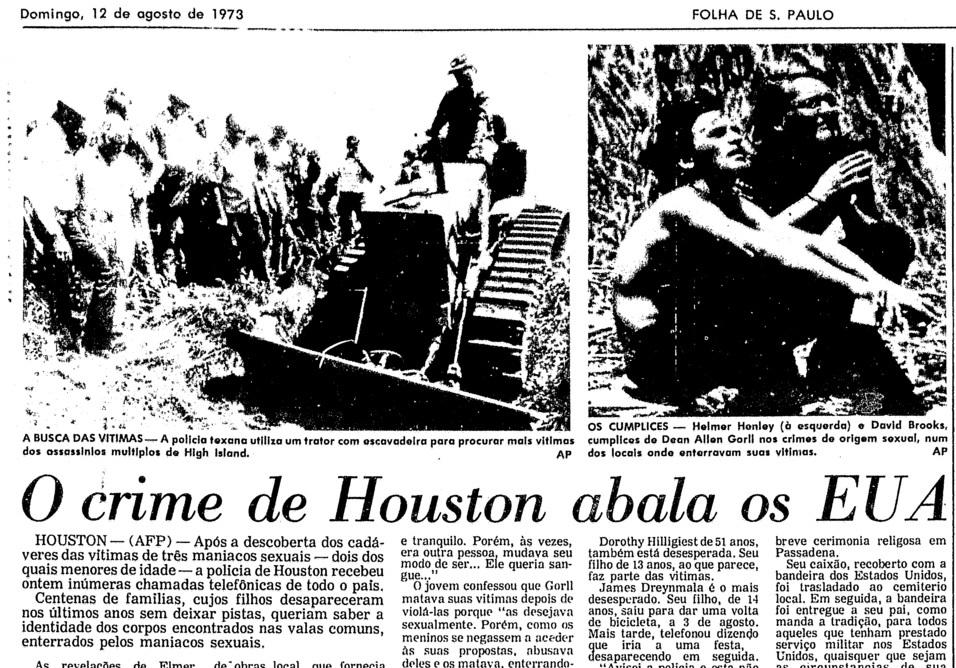 Reportagem da Folha de São Paulo sobre o caso. Data: 12 de Agosto de 1973.