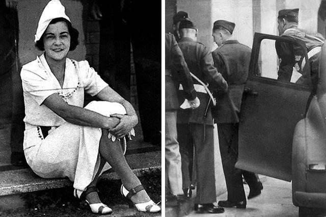 A terceira e última vítima de Leonski, Gladys Hosking. À direita, o serial killer sendo escoltado até a corte marcial. Foto: HWT Library.