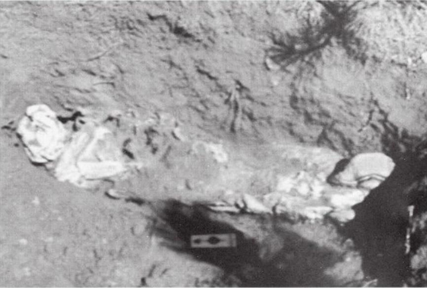 Imagem exibida no julgamento mostra um dos cadáveres encontrados na propriedade. Foto: Die for Me: The Terrifying True Story of the Charles Ng & Leonard Lake Torture Murders.