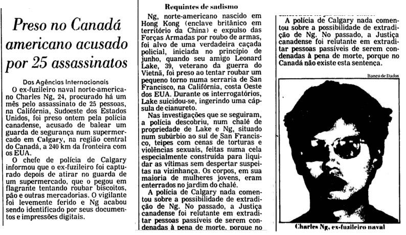 Reportagem da Folha de São Paulo de 7 de agosto de 1985 fala sobre a prisão de Charles Ng. Foto: Folha de São Paulo.