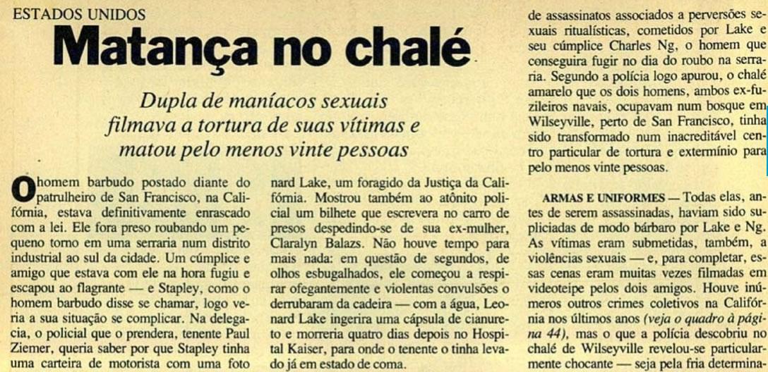 Edição 876 da Revista Veja trouxe uma matéria sobre os horrores descobertos em Foto: Revista Veja.