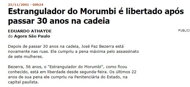 Reportagem da Folha de São Paulo sobre a libertação de José Paz Bezerra.