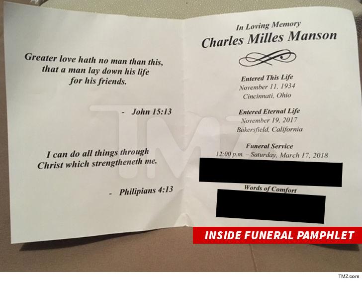 Panfleto do velório de Manson. Foto: TMZ.