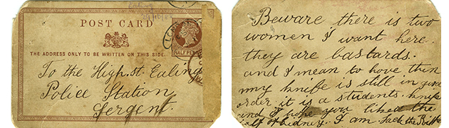 O cartão-postal supostamente enviado por Jack, o Estripador.