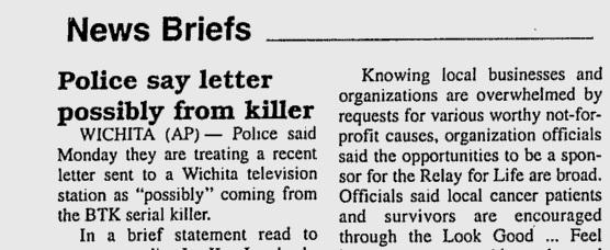 Reportagem do The Fort Scott Tribune de 11 de maio de 2004 relata uma carta recebida pela polícia do serial killer BTK.