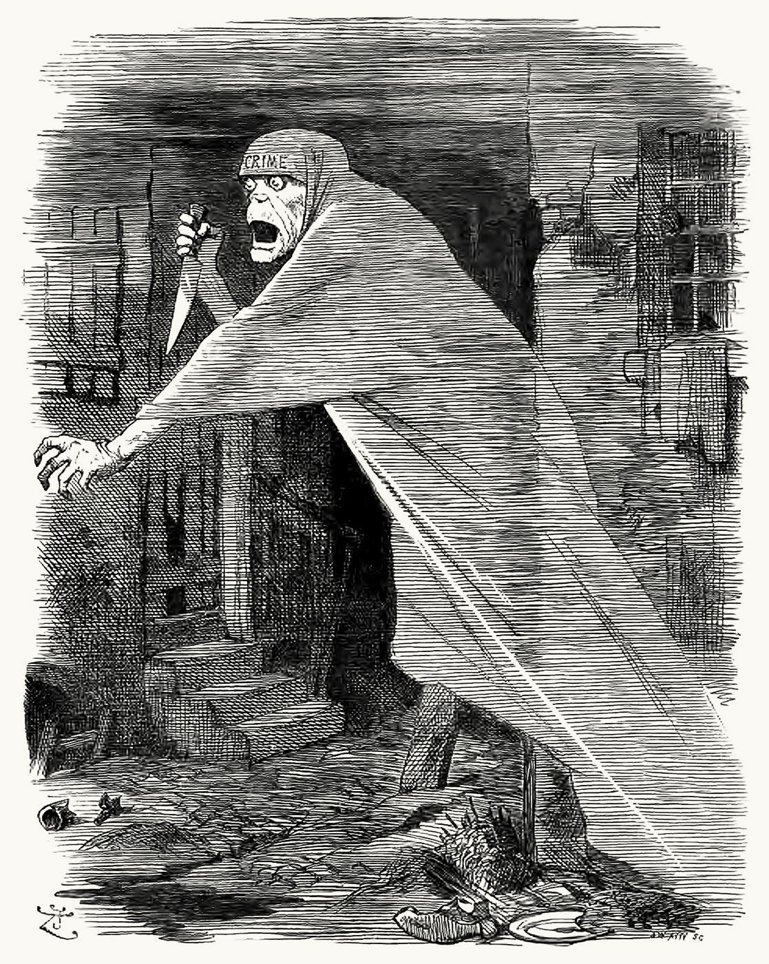"""O """"Nemesis da Negligência"""": Jack, o Estripador retratado como um fantasma perseguidor de Whitechapel, e como uma encarnação da negligência social, em um desenho de 1888."""