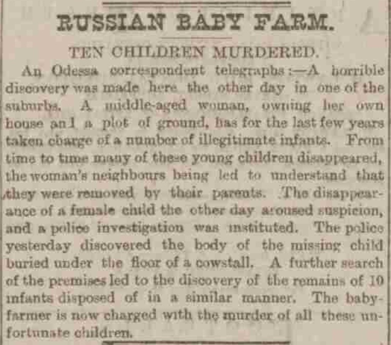 Russian Baby Farmer - Sheffield Evening Telegraph. 15/11/1887
