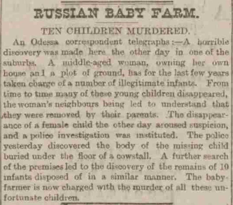 Russian Baby Farmer - Sheffield Evening Telegraph. 15/11/1887