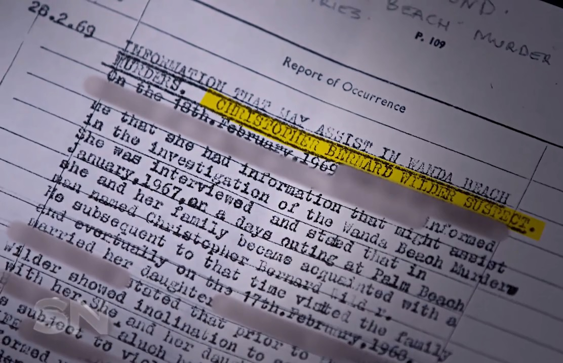 Documento obtido pleo canal australiano Channel 7's e mostrado no programa Sunday Night revela o nome do serial killer Christopher Wilder como o principal suspeito do duplo assassinato ocorrido em 1965.