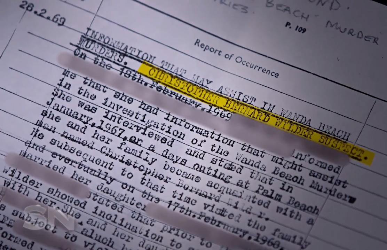 Documento obtido pleo canal australiano Channel 7's e mostrado no programa Sunday Night revela o nome do serial killer Christopher Wilder como o principal suspeito do duplo assassinato ocorrido em 1965.