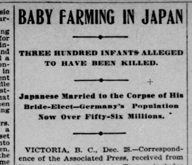 BABY FARMING IN JAPAN - Indianapolis Journal. 29/12/1902. P.5;