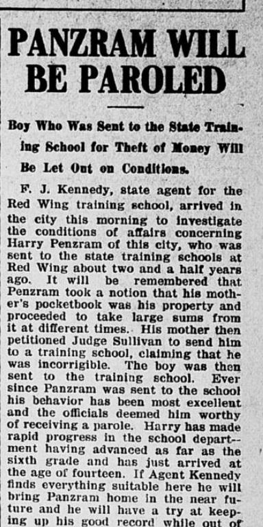 """""""Acredita-se que ele se tornará um bom cidadão americano"""", noticiou o the Evening Times sobre a saída do jovem Carl Panzram. Data: 26/01/1906."""