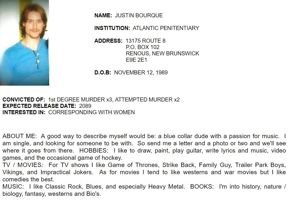 Perfil de Jason Bourque no site Canadian Inmates Connect.