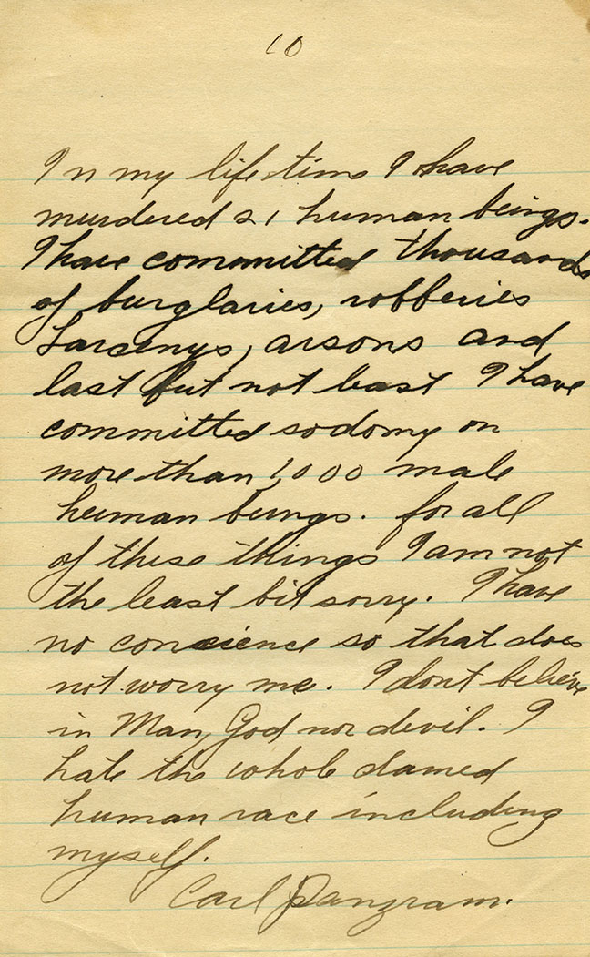 """Na imagem, a confissão digitalizada do famoso manuscrito """"Em toda minha vida eu matei 21 seres humanos..."""" de Carl Panzram. Foto: San Diego State University."""