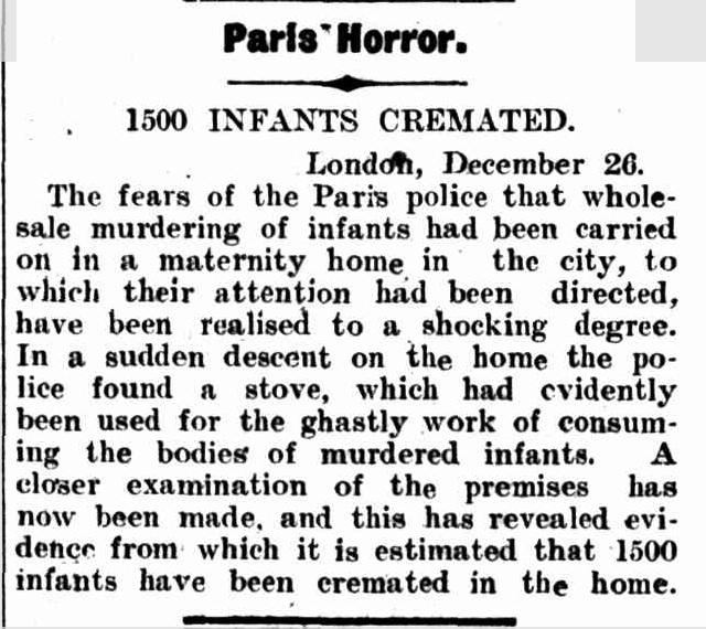 Reportagem do Albury Banner and Wodonga Express de 28 de dezembro de 1906 sobre os crimes de Veuve Chartier.