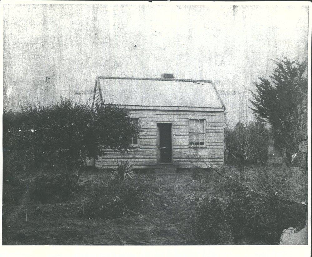 A casa de Minnie Dean na zona rural de Winton, Nova Zelândia. Foto: HOCKEN COLLECTIONS.