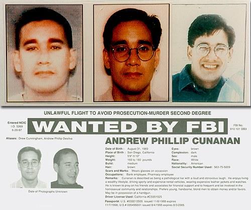 Pouco mais de um mês depois de se juntar à investigação, o FBI, trabalhando em conjunto com o programa televisivo America's Most Wanted, colocou Cunanan na lista dos 10 homens mais procurados dos Estados Unidos. Foto: FBI.gov.