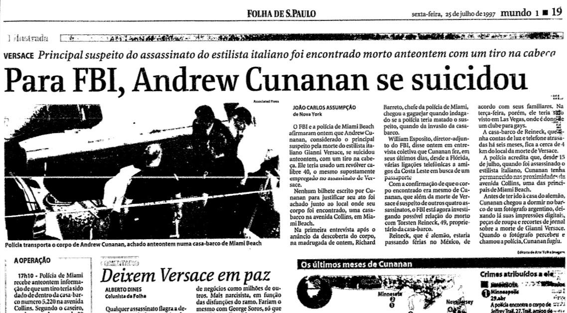 Reportagem de época da Folha de São Paulo sobre a morte de Andrew Cunanan.