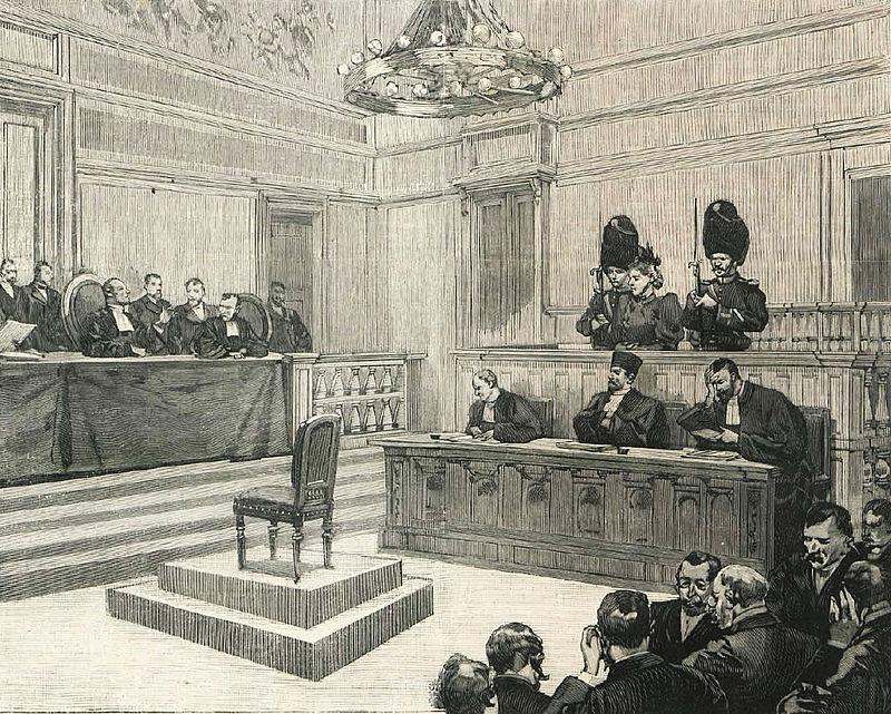 Ilustração de época do julgamento de Marie-Thérèse Joniaux-Ablay.