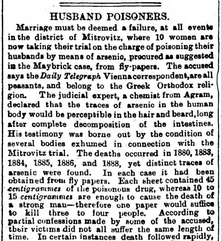 HUSBAND POISONERS (Envenenadoras de Marido, em tradução literal). Mid-Surrey Times, Inglaterra. 5 de Julho de 1890, página 8.