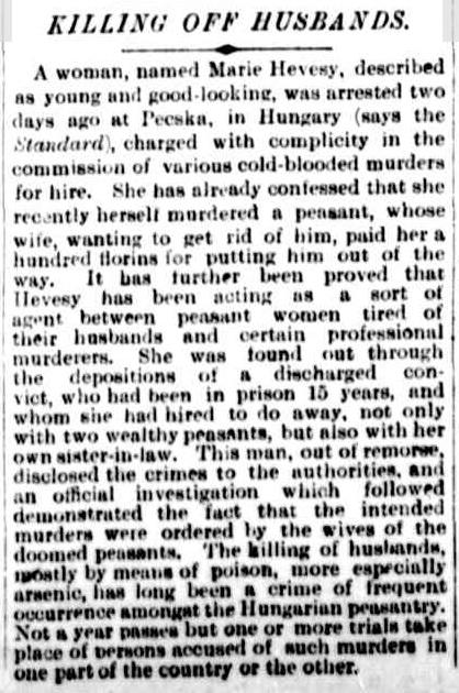 Um único texto sobre Marie Hevesy foi reproduzido em vários jornais da época, como no australiano The Argus. Data: 25 de março de 1895.