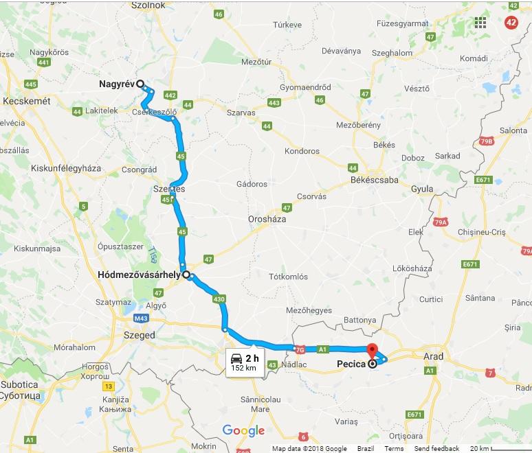A proximidade entre as três cidades se vê no mapa. Ao sul Pecica, cidade romena na fronteira com a Hungria. Ao norte Nagyrév. E no meio delas Hódmezővásárhely, palco de centenas de assassinatos em série no final do século 19. Foto: Google Maps.