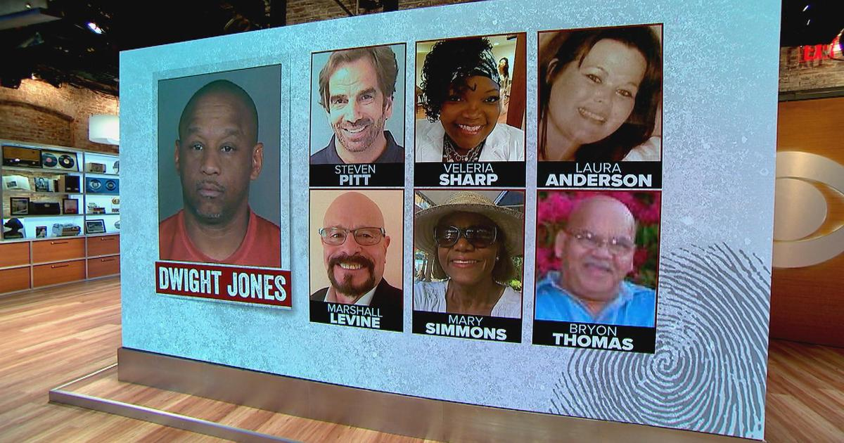 O acusado Dwight Jones e suas seis vítimas. Foto: CBS News.