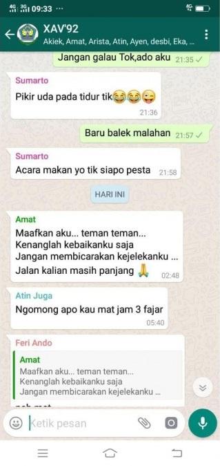 Mensagem enviada por Fransiskus Ong em um grupo do WhatsApp na madrugada do dia 24 de outubro. Foto: The Jakarta Post.