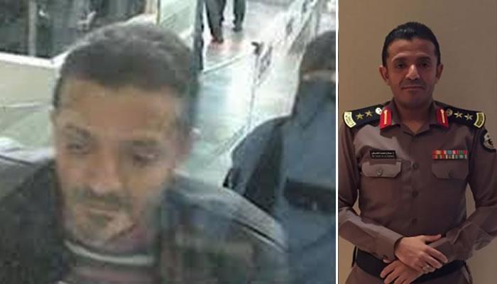 O patologista forense do reino saudita Salah Muhammed al-Tubaigy foi capturado pelas câmeras do aeroporto em 2 de outubro. À direita uma foto de arquivo.