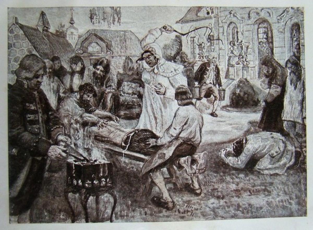 """Darya Saltykova espancando um de seus servos. Ilustração de P.B. Kurdyumova, retirado do livro """"A Grande Reforma"""" (1910)."""