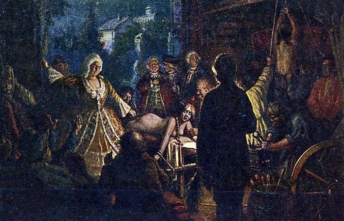 Saltykova torturando sua última vítima. Cartão postal de B.N. Pchelina, 1920.